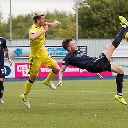 John McGhee of Falkirk comes close with an acrobatic attempt at an overhead kick. Watching on Jackson Longridge of Livingston and Tom Scobbie of Falkirk. Falkirk v Livingston, Ladbrokes Championship, 23rd September 2017. (c) Paul Cram | SportPix