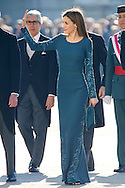 Queen Letizia of Spain and Mariano Rajoy attended the New Year's Military Parade at the Palacio Real on January 6, 2015 in Madrid, Spain