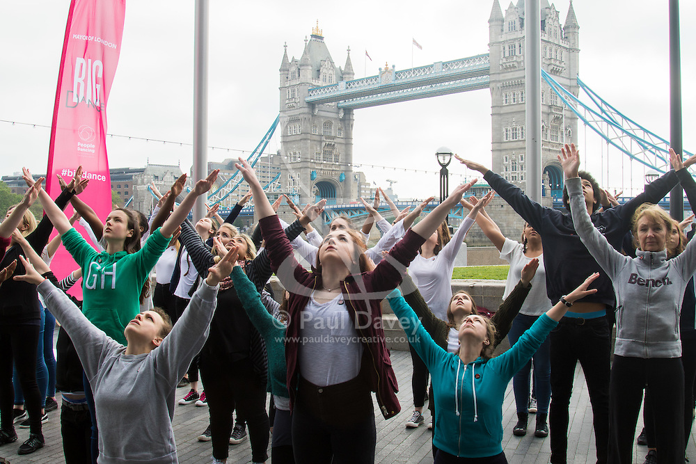City Hall, London, May 19th 2016.  PICTURED: The dancers practice their routine for Mayor of London Sadiq Khan.<br /> <br /> The Mayor of London Sadiq Khan joins internationally-celebrated choreographer Akram Khan and Londoners from across the capital as they do their warm-ups at City Hall for the international Big Dance Pledge.<br />  <br /> The preview of the performance ahead of the world-wide Big Dance event. On Friday 20 May, over 40,000 people in 43 countries around the world will take part in the dance, which has been specially choreographed by Akram Khan.