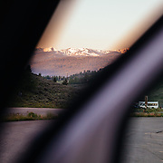 View through the door of the van heading out on a Teton Science Schools wildlife tour.