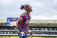 LONDON, ENGLAND - MAY 13:  Wilfried Zaha (11) of Crystal Palace, celebrates after scoring goal during  the Premier League match between Crystal Palace and West Bromwich Albion at Selhurst Park on May 13, 2018 in London, England. (Photo by Sebastian Frej/MB Media/Getty Images)