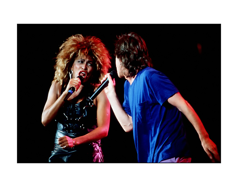 Mick Jagger and Tina Turner during the 1985 Live Aide Concert at Philadelphia's JFK Stadium.©1985 Ed Hille