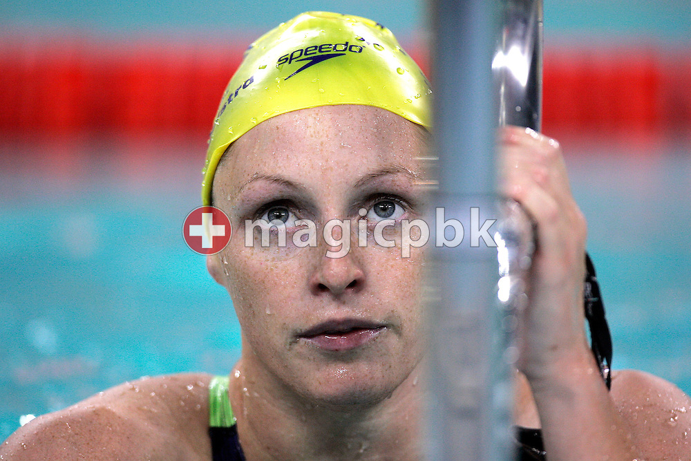 Shayne REESE of Australia on her way out of the pool after competing in the women's 4x200m Freestyle Relay heat during day one of the 8th FINA World Swimming Championships (25m) held at Qi Zhong Stadium April 5, 2006 in Shanghai, China. (Photo by Patrick B. Kraemer / MAGICPBK)
