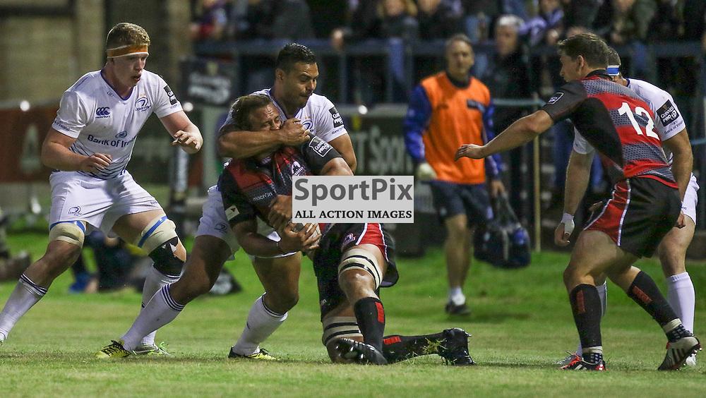 Edinburgh No. 4 Anton Bresler gets stopped by the Leinster defence.  Edinburgh Rugby v Leinster, 4th September 2015