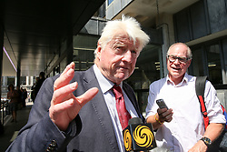 © Licensed to London News Pictures. 23/07/2019. London, UK. Stanley Johnson, Boris Johnson's father speaking with the media outside QEII Centre after Boris Johnson elected as leader of the  Conservative Party and the new British Prime Minister. Dinendra Haria/LNP