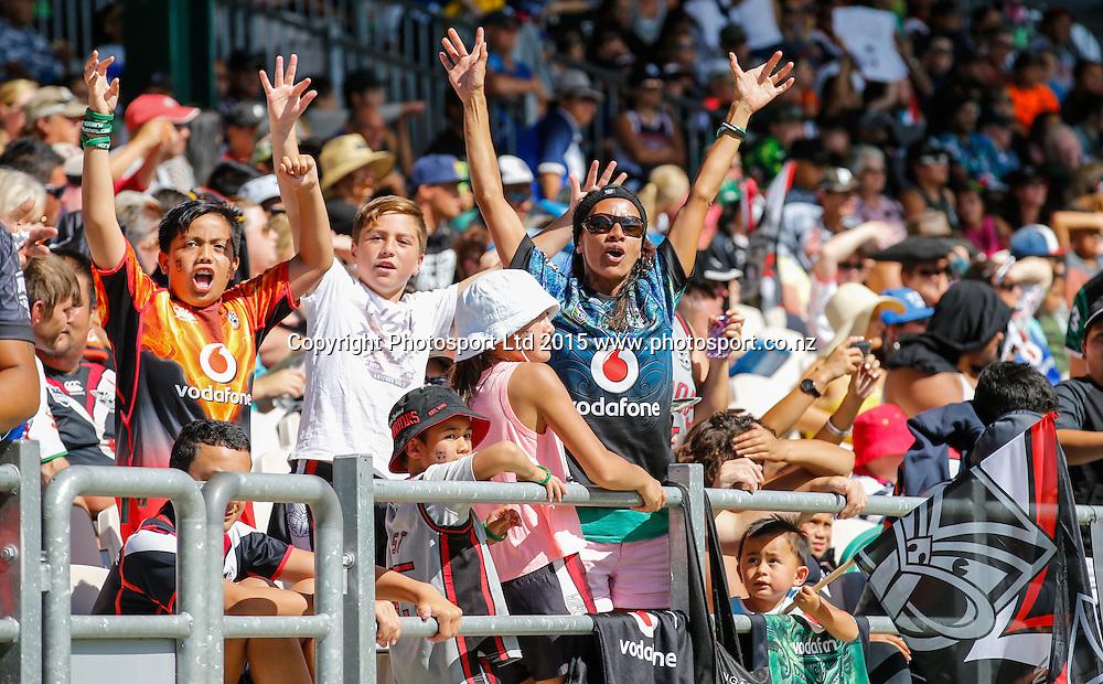 Warrior's fans. NRL trial match, Vodafone Warriors vs Penrith Panthers, International Stadium, Rotorua, New Zealand. Saturday, 14 February, 2015. Photo: John Cowpland / www.photosport.co.nz