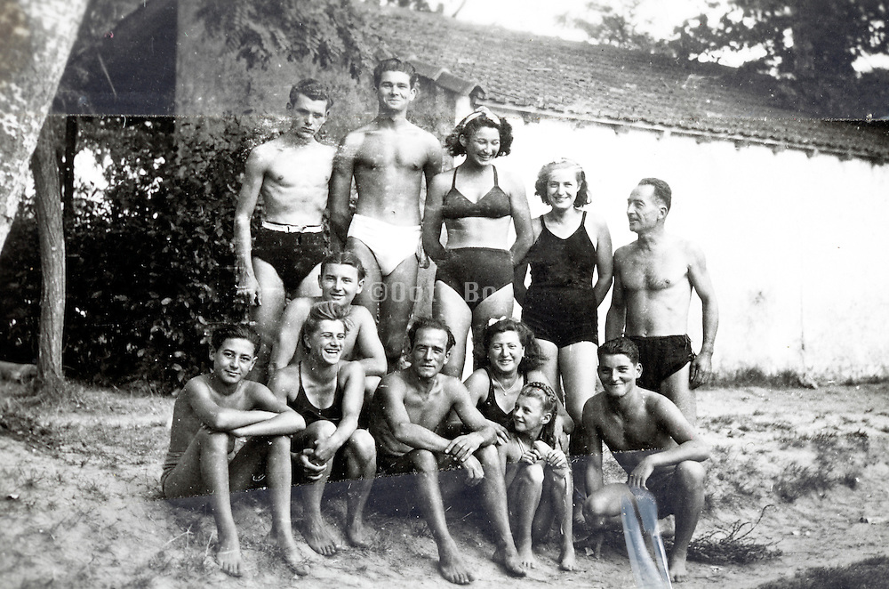 family and friends summer vacation snapshot with clear tape France 1950s
