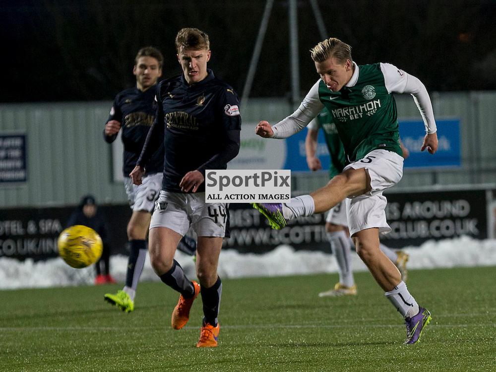 Falkirk v Hibernian   SPFL season 2015-2016  <br /> <br /> Jason Cummings (Hibernian) shot at goal during the Ladbrokes Championship match between Falkirk v Hibernian at Falkirk Stadium on Sunday 17 January 2016<br /> <br /> Picture: Alan Rennie