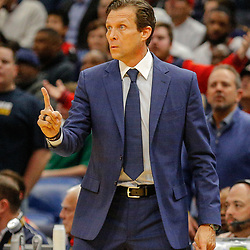 Feb 5, 2018; New Orleans, LA, USA; Utah Jazz head coach Quin Snyder against the New Orleans Pelicans during the second quarter at the Smoothie King Center. Mandatory Credit: Derick E. Hingle-USA TODAY Sports