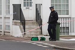 © Licensed to London News Pictures. 04/04/2016. London, UK. A paramedic box in the police cordon in Camplin Street, New Cross, Lewisham, where a 17 year old boy died last night after being fatally stabbed. Police have arrested two teens in connection with the murder. Photo credit : Vickie Flores/LNP
