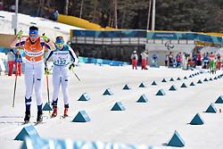 INOLA Inkki FIN B3 Guide: SORMUNEN Vili competing in the ParaSkiDeFond, Para Nordic Skiing, Sprint at  the PyeongChang2018 Winter Paralympic Games, South Korea.