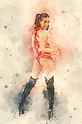 Kinbaku Japanese bondage art. Fetish model 26 years old, tied with red rope wearing knee high black boots, Digitally enhanced image