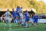 AFC Wimbledon defender Terell Thomas (6) scoring goal to make it 1-0 during the EFL Sky Bet League 1 match between AFC Wimbledon and Portsmouth at the Cherry Red Records Stadium, Kingston, England on 19 October 2019.