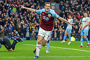 Gaol Burnley forward Chris Wood (11) celebrates as he scores a goal to make it 1-0 during the Premier League match between Burnley and West Ham United at Turf Moor, Burnley, England on 30 December 2018.