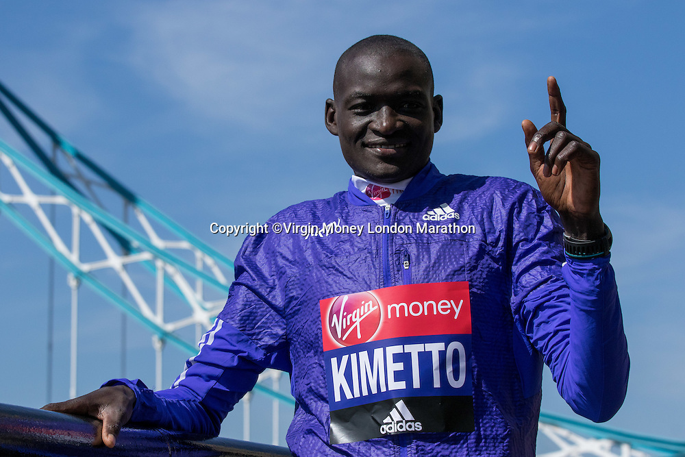 Dennis Kimetto KEN at the photocall for six of the the Elite Men's race competitors at the Guoman Tower Hotel. The Virgin Money London Marathon, 20 April 2016.<br /> <br /> Photo: Neil Turner for Virgin Money London Marathon<br /> <br /> For more information please contact media@londonmarathonevents.co.uk