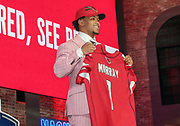 Apr 25, 2019; Nashville, TN, USA; Oklahoma Sooners quarterback Kyler Murray poses after being selected as the No. 1 pick of the first round by the Arizona Cardinals during the 2019 NFL Draft. (Kim Hukari/Image of Sport)