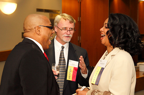 (from left) Keith Harrison of Camp Fire USA, Dan Bir of Randd & Associates Printing & Promotions and Deboria Harrison during the Better Business Bureau's Eclipse Integrity Awards dinner at the Ponitz Center at Sinclair Community College in downtown Dayton, Tuesday, May 8, 2012.