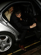 16.JANUARY.2007. LONDON<br /> <br /> KATE MOSS AND PETE DOHERTY LEAVING THE DONMAR WAREHOUSE THEATRE IN COVENT GARDEN AFTER CELEBRATING KATE'S 33RD BIRTHDAY BEFORE GOING ONTO THE DORCHESTER TO PARTY THE NIGHT AWAY. BUT PETE HAD TO LEAVE EARLY AT 2.00AM BECAUSE HE HAS GOT TO BE IN COURT IN THE MORNING BUT STILL HAD TIME TO GIVE A QUICK V-SIGN.<br /> <br /> BYLINE: EDBIMAGEARCHIVE.CO.UK<br /> <br /> *THIS IMAGE IS STRICTLY FOR UK NEWSPAPERS AND MAGAZINES ONLY*<br /> *FOR WORLD WIDE SALES AND WEB USE PLEASE CONTACT EDBIMAGEARCHIVE - 0208 954 5968*