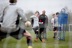 CARDIFF, WALES - Thursday, March 15, 2012: Wales U16's Harry Wilson (Liverpool FC & Ysgol Dinas Bran) with Ian Rush during a training session at the Glamorgan Sports Park. (Pic by David Rawcliffe/Propaganda)