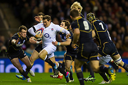 England Full Back (#15) Alex Goode (Saracens) breaks for the tryline during the second half of the match - Photo mandatory by-line: Rogan Thomson/JMP - Tel: Mobile: 07966 386802 02/02/2013 - SPORT - RUGBY UNION - Twickenham Stadium - London. England v Scotland - 2013 RBS Six Nations Championship. The winner of this fixture is awarded the Calcutta Cup.