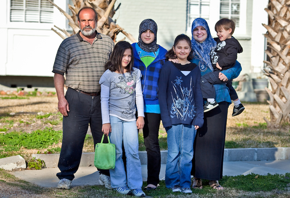 The Zeitoun family in front of thie home in New Orleans in 2010.  Abdulrahman Zeitoun whose Post-Katrina nightmare of indefinite detention was chronicled by writer Dave Eggers in the book 'Zeitoun' in 2009. Her now ex-husban is in legal trouble for assaulting her.