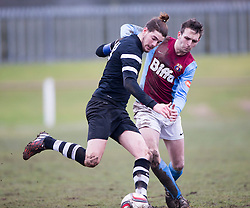 Edusport Academy Quentin Fouley and Whitehill Welfare Willie Kerr.<br /> Whitehill Welfare 2 v 1 Edusport Academy, South Challenge Cup Quarter Final played 7/3/2015 at Ferguson Park, Carnethie Street, Rosewell.