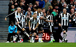 Jonjo Shelvey of Newcastle United kicks Matt Ritchie of Newcastle United in the goal celebrations - Mandatory by-line: Robbie Stephenson/JMP - 24/04/2017 - FOOTBALL - St James Park - Newcastle upon Tyne, England - Newcastle United v Preston North End - Sky Bet Championship