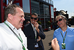 06.09.2014, Autodromo di Monza, Monza, ITA, FIA, Formel 1, Grand Prix von Italien, Qualifying, im Bild 06.09.2014, Autodromo di Monza, Monza, ITA, FIA, Formel 1, Grand Prix von Italien, Qualifying, im Bild Gene Haas (USA) Founder, President, and Sole Stockholder of Haas Automation, and founder of the Haas Formula One Team with Joe Custer (USA) Stewart Haas Racing Vice President and Guenther Steiner (ITA) Haas F1 Team Prinicipal // during the Qualifying of Italian Formula One Grand Prix at the Autodromo di Monza in Monza, Italy on 2014/09/06. EXPA Pictures © 2014, PhotoCredit: EXPA/ Sutton Images<br /> <br /> *****ATTENTION - for AUT, SLO, CRO, SRB, BIH, MAZ only*****