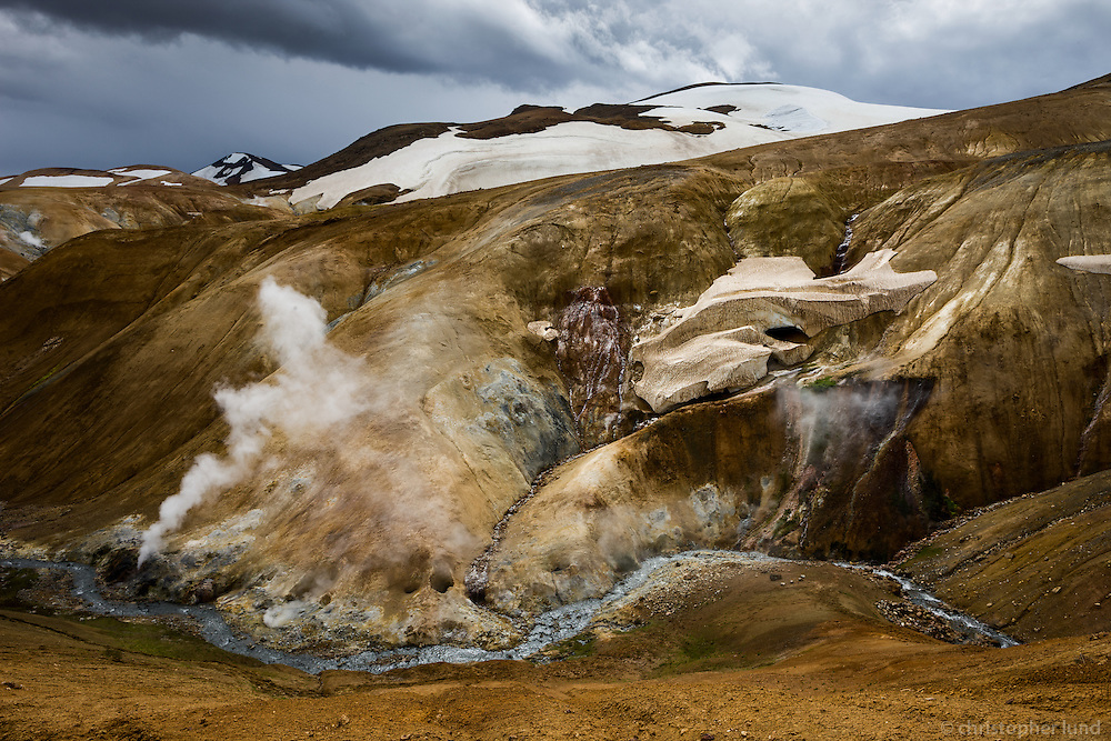 Kerlingarfjöll geothermal area, Highlands of Iceland. Steam from geothermal vents and mudpools.