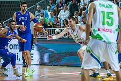 Uros Slokar of Slovenia during friendly basketball match between National teams of Slovenia and Italy at day 3 of Adecco Cup 2015, on August 23 in Koper, Slovenia. Photo by Grega Valancic / Sportida