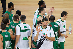 Players of Panathinaikos after the basketball match between KK Union Olimpija and Panathinaikos Athens (GRE)  in 3rd Round of Regular season of Euroleague 2012/13 on October 26, 2012 in Arena Stozice, Ljubljana, Slovenia. Panathinaikos defeated Union Olimpija 85-67. (Photo By Vid Ponikvar / Sportida)