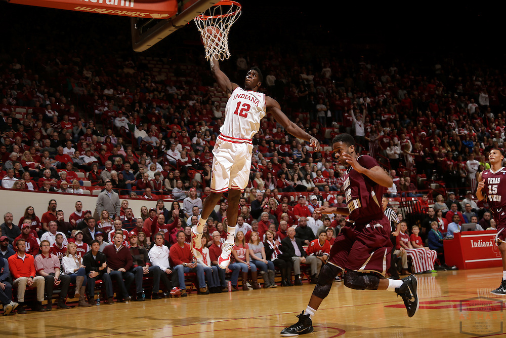 Indiana forward Hanner Mosquera-Perea (12) as Texas Southern University played Indiana in an NCCA college basketball game, Monday, Nov. 17, 2014 in Bloomington, Ind.. (AJ Mast /Photo)