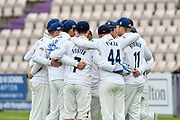 Essex players huddle before play during the second day of play in the Specsavers County Champ Div 1 match between Hampshire County Cricket Club and Essex County Cricket Club at the Ageas Bowl, Southampton, United Kingdom on 28 April 2018. Picture by Graham Hunt.