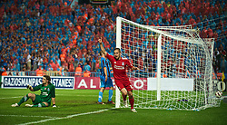 TRABZON, TURKEY - Thursday, August 26, 2010: Liverpool's Joe Cole celebrates the own-goal equaliser against Trabzonspor during the UEFA Europa League Play-Off 2nd Leg match at the Huseyin Avni Aker Stadium. (Pic by: David Rawcliffe/Propaganda)