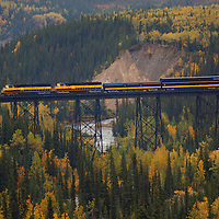 Train trestle outside the train station in Denali National Park Alaska