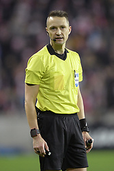 February 14, 2019 - Prague, CZECH REPUBLIC - Referee Andris Treimanis pictured during a soccer game between Czech club SK Slavia Praha and Belgian team KRC Genk, the first leg of the 1/16 finals (round of 32) in the Europa League competition, Thursday 14 February 2019 in Prague, Czech Republic. BELGA PHOTO YORICK JANSENS (Credit Image: © Yorick Jansens/Belga via ZUMA Press)