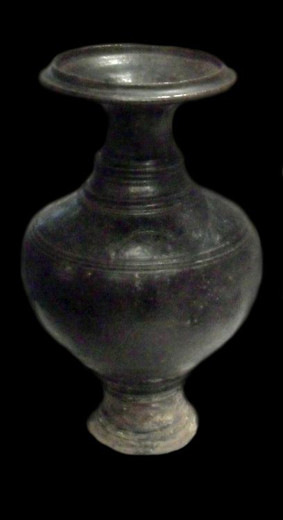 Baluster vase with elephant head. 12th century, 13th century, ceramic glazed stoneware from Cambodia