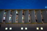 LECCE, ITALY - 10 NOVEMBER 2016: A view of the male inmates unit of the largest penitentiary in the southern Italian region of Apulia, holding 1,004 inmates in the outskirts of Lecce, Italy, on November 10th 2016.<br /> <br /> Here a group of high-security inmates and aspiring sommeliers are taking a course of eight lessons to learn how to taste, choose and serve local wines.<br /> <br /> The classes are part of a wide-ranging educational program to teach inmates new professional skills, as well as help them develop a bond with the region they live in.<br /> <br /> Since the 1970s, Italian norms have been providing for reeducation and a personalized approach to detention. However, the lack of funds to rehabilitate inmates, alongside the chronic overcrowding of Italian prisons, have created a reality of thousands of incarcerated men and women with little to do all day long. Especially those with a serious criminal record, experts said, need dedicated therapy and professionals who can help them.