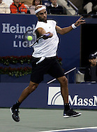 James Blake of the US returns a forehand to Carlos Moya of Spain in their third round match on the seventh day of the 2006 US Open tennis tournament in Flushing Meadows New York Sunday 03 September 2006. (Andrew Gombert) for The New York Times
