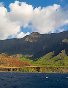 View of Kalalau Valley on the stunning Na Pali Coast on the western side of Kauai, Hawaii, USA.