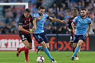 SYDNEY, AUSTRALIA - APRIL 13: Western Sydney Wanderers forward Oriol Riera (9) battles Sydney FC midfielder Joshua Brillante (6) for the ball at round 25 of the Hyundai A-League Soccer between Western Sydney Wanderers and Sydney FC  on April 13, 2019 at ANZ Stadium in Sydney, Australia. (Photo by Speed Media/Icon Sportswire)