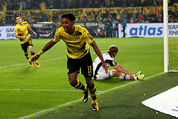 DORTMUND, Sept. 24, 2017  Pierre-Emerick Aubameyang of Borussia Dortmund celebrates after scoring during the Bundesliga match between Borussia Dortmund and Borussia Moenchengladbach at the Signal Iduna Park in Dortmund, Germany, on Sept. 23, 2017. Dortmund won the match by 6-1. (Credit Image: © Joachim Bywaletz/Xinhua via ZUMA Wire)