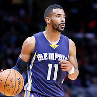 23 February 2015: Memphis Grizzlies guard Mike Conley (11) brings the ball up court during the Memphis Grizzlies 90-87 victory over the Los Angeles Clippers, at the Staples Center, Los Angeles, California, USA.