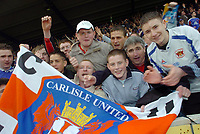 Photo: Leigh Quinnell.<br /> Mansfield Town v Carlisle United. Coca Cola League 2. 22/04/2006. Carlisle fans celebrate promotion to league 1.