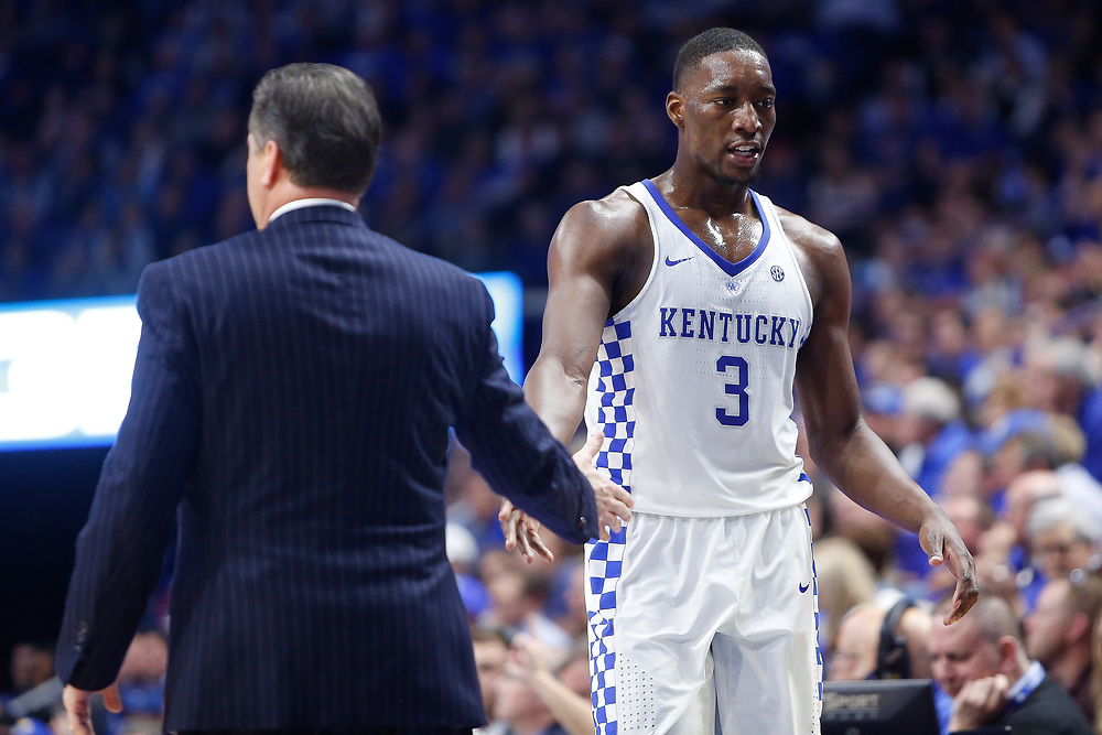 Kentucky Wildcats head coach John Calipari high fives  forward Bam Adebayo against the Kansas Jayhawks on Saturday January 28, 2017 at Rupp Arena in Lexington, Ky. Photo by Michael Reaves | Staff