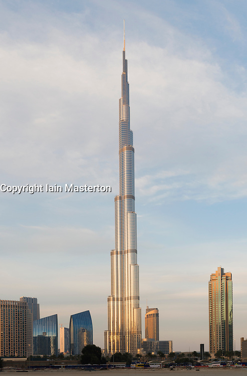 View of Burj Khalifa tower , the world's tallest structure , Dubai United Arab Emirates UAE
