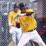 St. Elizabeth Outfielder Trevor Powers (9) takes a high pitch during of a varsity scheduled game between the Colonials of William Penn and The St. Elizabeth Vikings Saturday, April 25, 2015, at William Penn High School baseball field in New Castle Delaware.<br /> <br /> William Penn defeats St. Elizabeth 6-5