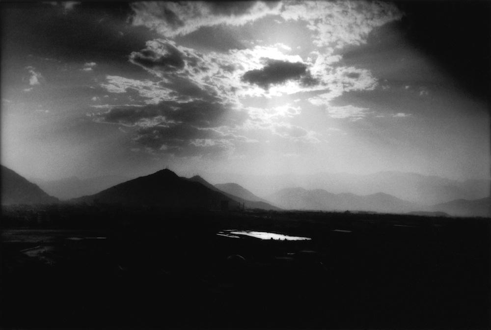 Sun like a god's eye over Kabul,Afghanistan.