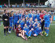 Farmington celebrate after their ninth league win in a row ensures that they will be in the SWPL next season - Forfar Farmington v Hearts - Scottish Womens' Premier League at Station Park<br /> <br /> <br />  - &copy; David Young - www.davidyoungphoto.co.uk - email: davidyoungphoto@gmail.com