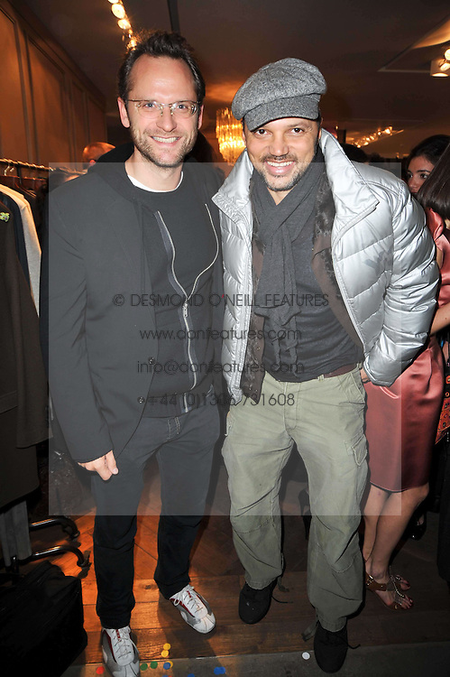 Left to right, CHARLIE MUIRHEAD and GERRY DEVEAUX at the launch party of 'Songs For Sorrow' hosted by Alber Elbaz and Mika held at Lanvin, 32 Savile Row, London on 11th November 2009.